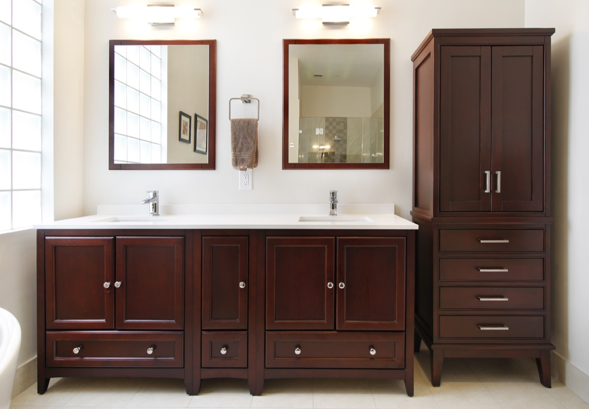 transitional polished master bathroom
